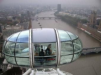 倫敦眼上看泰晤士河畔的歷史建築